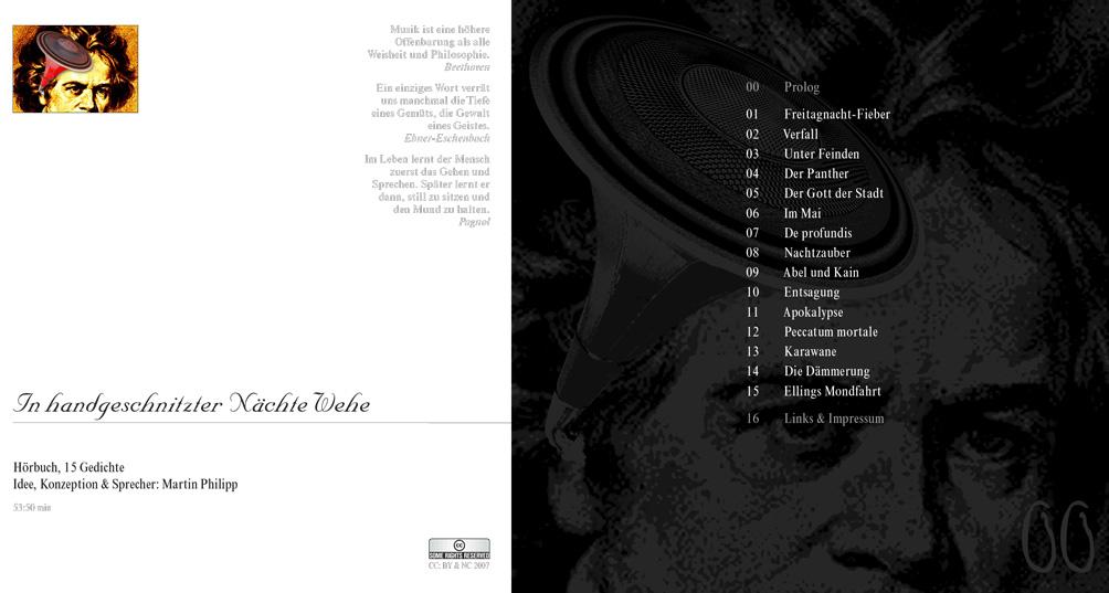 """Kostenloses Hörbuch """"In handgeschnitzter Nächte Wehe"""" von Martin Philipp mit Lyrik von Trakl, Nietzsche und Baudelaire sowie eigenen Gedichten"""